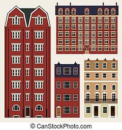 edificios, conjunto, clásico, casas, terraza, inglés