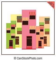 edificios, conjunto, de, iconos, de, local, empresa / negocio, blanco, plano de fondo
