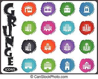 edificios, conjunto, grunge, estilo, iconos