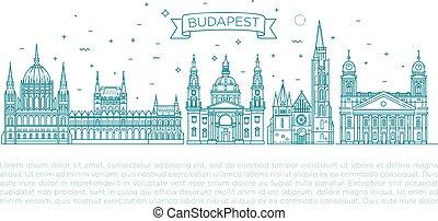 edificios, conjunto, húngaro, viaje, delgado, histórico, señal, línea, icono