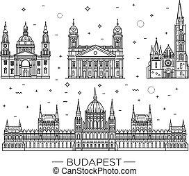 edificios, conjunto, húngaro, viaje, delgado, histórico, ...