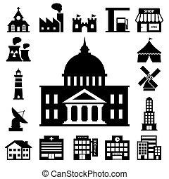 edificios, conjunto, icono