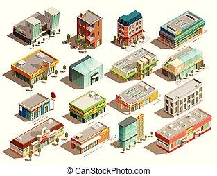 edificios, conjunto, isométrico, tienda, iconos