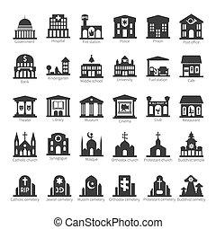 edificios, conjunto, lugares, vector, común, icono