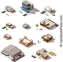 edificios, conjunto, vector, isométrico