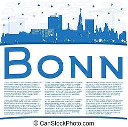 edificios, contorno, bonn, azul, copia, alemania, ciudad, ...