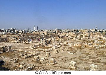 edificios, de, amman, ciudadela, en, jordania