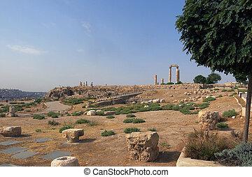 edificios, de, amman, ciudadela, en, nacional, sitio histórico, en, jordania