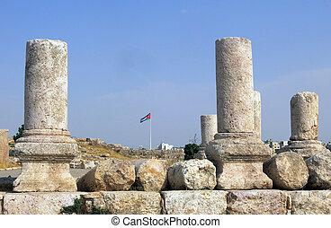 edificios, de, amman, ciudadela, en, nacional, sitio histórico
