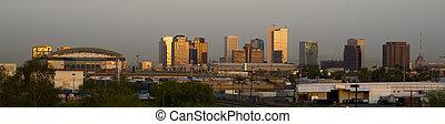 edificios, de, arizona phoenix, contorno, antes, el, sol, subidas