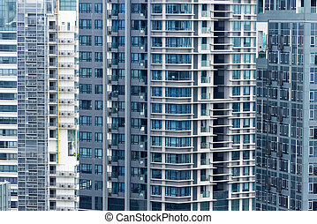 edificios de departamentos, en, singapore., plano de fondo