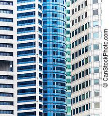 edificios de oficinas, fondo., singapur