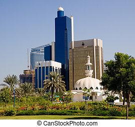 edificios, dhabi, oficina, mezquita, abu, frente