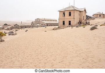 edificios, en, el, pueblo fantasma, de, kolmanskop