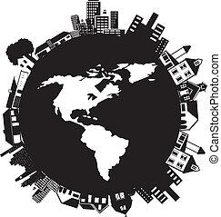 edificios, en, un, planeta