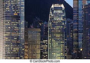 edificios, escena, empresa / negocio, noche