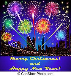 edificios, festivo, fuegos artificiales, ilustración, ...