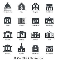 edificios, gobierno, iconos