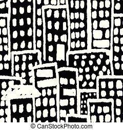 edificios, grunge, patrón, seamless, mano, vector, negro, dibujado, blanco