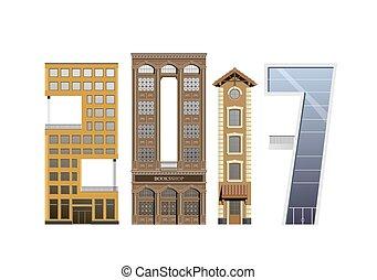 edificios, grupo, 2017, forma