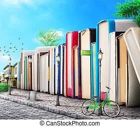 edificios, illustration., avenue., concept., libros, calle...