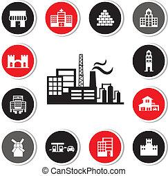 edificios, industrial, conjunto, fábrica, icono