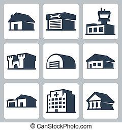 edificios, isométrico, iconos, conjunto, estilo, vector, #3
