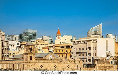 edificios, líbano, griego, beirut, ortodox, moderno, ...