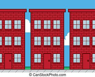 edificios, ladrillo, rojo