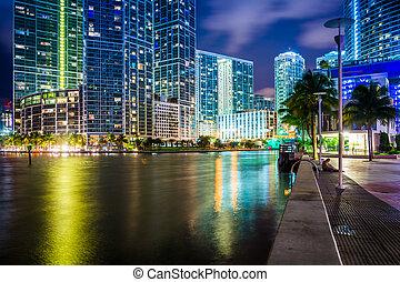 edificios, miami, miami, céntrico, flo, por, río, noche