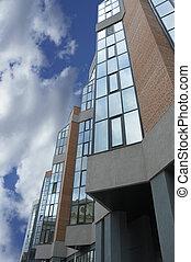 edificios, moderno, cielo, oficina