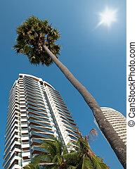 edificios, moderno, condominios