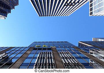 edificios, moderno, plano de fondo, rascacielos, oficina