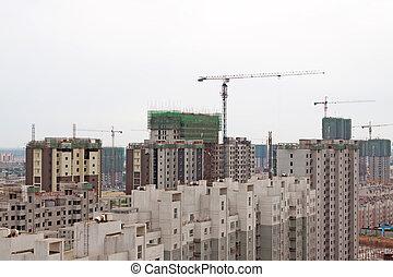 edificios, multistory, inacabado