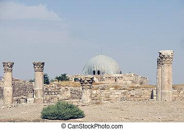 edificios, nacional, sitio, histórico, amman, ciudadela