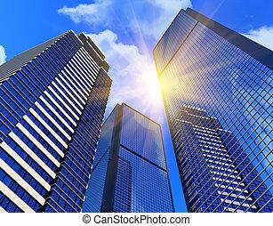 edificios, negocio moderno