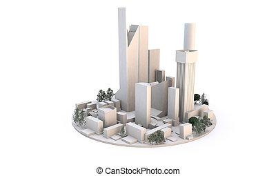 edificios, nivel, (white, background), cityscape, blanco, ...