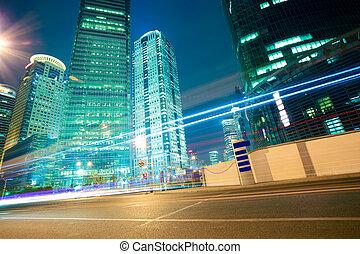 edificios, oficina, luz, streetscape, shanghai, senderos, camino