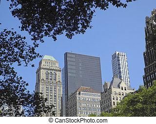 edificios, por, árboles