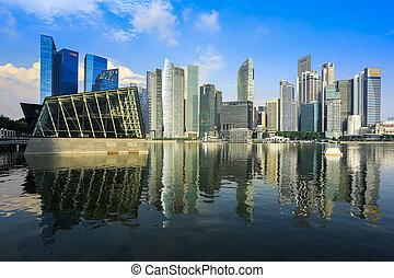edificios, reflexión, empresa / negocio, singapur