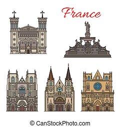 edificios, señales, francia, vector, fachada, viaje