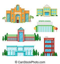 edificios, set., escuela, ilustración, vector,...