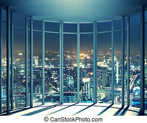 edificios, subida, alto, ventana, noche, vista
