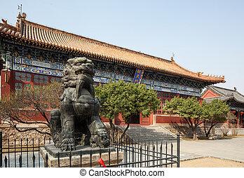 edificios, taishan, antiguo, china, daimiao