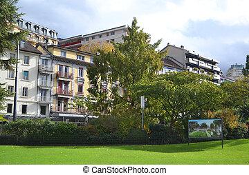 edificios, terraplén, montreux