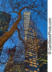 edificios, -, tower., américa, manhattan, banco