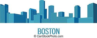 edificios, vector., torre, abajo, plano, estilo, paisaje, ...