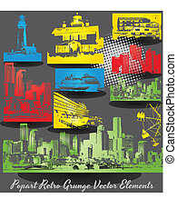 edificios, vectors, grunge, retro