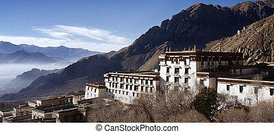 edificios, viejo, monasterio, drepung, budista, tibet.