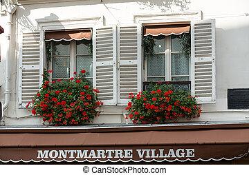 edificios, viejo, windows, paris., montmartre, obturadores